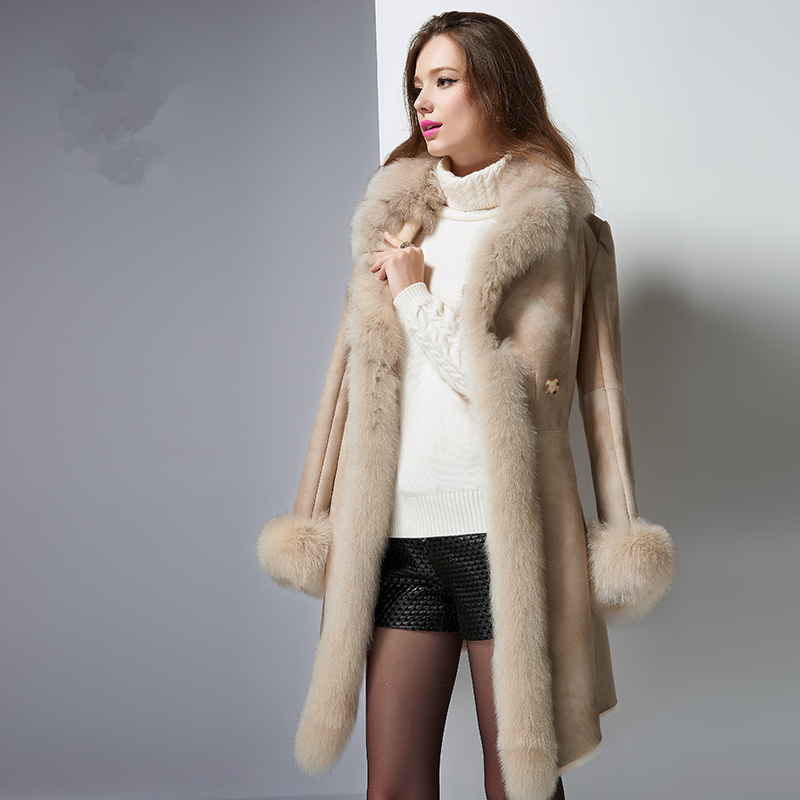 Coat Fur Real Female 2020 Women Vintage Natural Double-faced Fur Coats Fox Fur Collar Jackets Women's Winter Jacket AP58 S 's