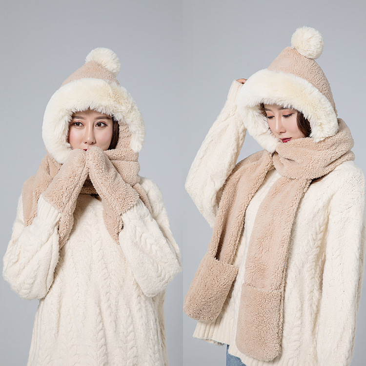 New Hat,gloves,scarf,plush And Warm Ladies'three-piece Suit In Winter Of2019,Winter Scarf Of Lady Rabbit Hair Hat And Scarf Set