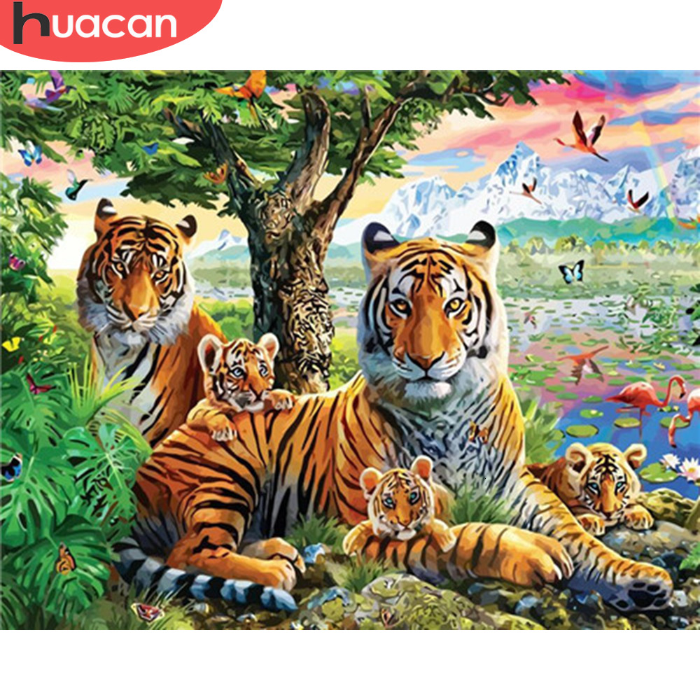 HUACAN Painting By Numbers Tiger Animals HandPainted Kits Drawing Canvas Pictures Home Decoration DIY Gift