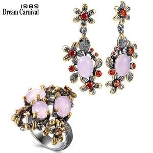 DreamCarnival1989 New Baroque Ring + Earrings Set for Women Pink Opal Stones Feminine Flower Elegant Engagement Jewelry ER4033S2