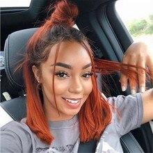 Имбирные оранжевые человеческие волосы, полностью кружевные парики с детскими волосами, бразильские прямые волосы Remy с эффектом омбре, бесклеевые парики для женщин