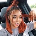 Имбирь оранжево-полный шнурок человеческих волос парики с детскими волосами Реми прямые волосы с эффектом деграде (переход от темного к све...