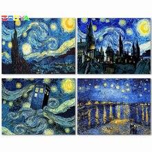 Zooya diy 5d алмазная вышивка Ван Гог Звездная ночь живопись