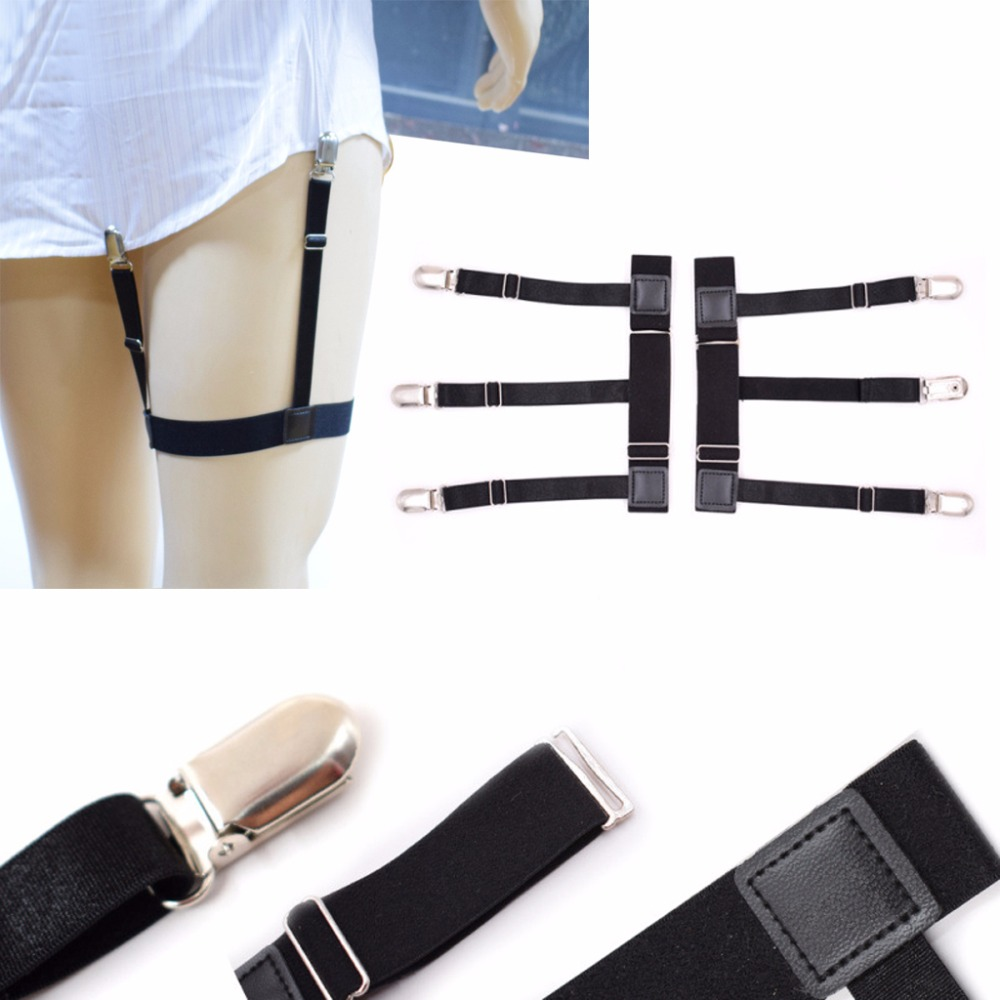Coslony 2Pcs/Set Mens Adjustable Elastic Leg Suspenders Shirt Stays Holder Non-slip Locking Clamps 3 Buckles Anti-wrinkle