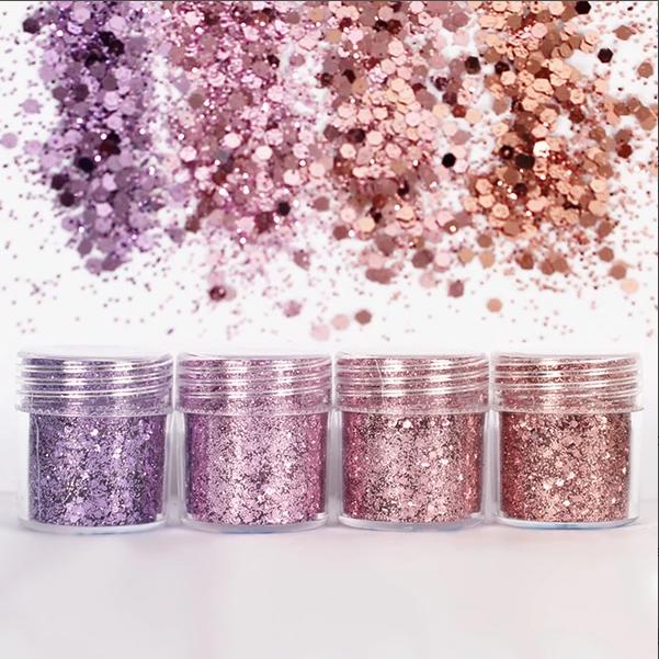 Purple Pink Hexagon Glitter Bling Bling Filling Materials For Resin Craft Festive Jewelry Tools Uv Resin Pigment (4pcs)