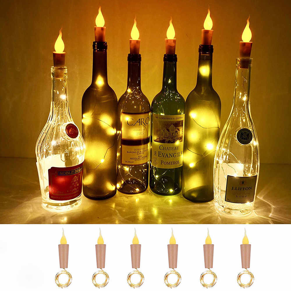 Battery Powered Candle Wine Bottle Lights With Cork LED String Lights Garland String Fairy Night Lamp Wedding Decoration
