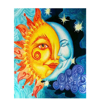 Painting By Numbers Sun And Moon Bright Colours