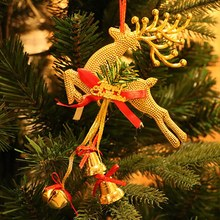 1PC New Christmas Tree Decoration Golden Deer Ornaments Fawn Pendant With BellHome DIY Xmas Hanging