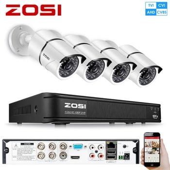 ZOSI 1080P 4-in-1 CVBS AHD CVI TVI Security 4ch CCTV System Camera 2MP Video Surveillance DVR Kit HDD