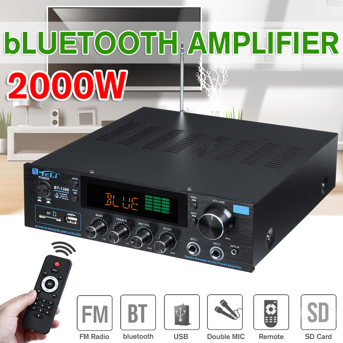 110-240V 2000W Wireless Digital Audio Amplifier 16ohm Bluetooth Stereo Karaoke Amplifier 2MIC Input FM RC Home Theater Amplifier