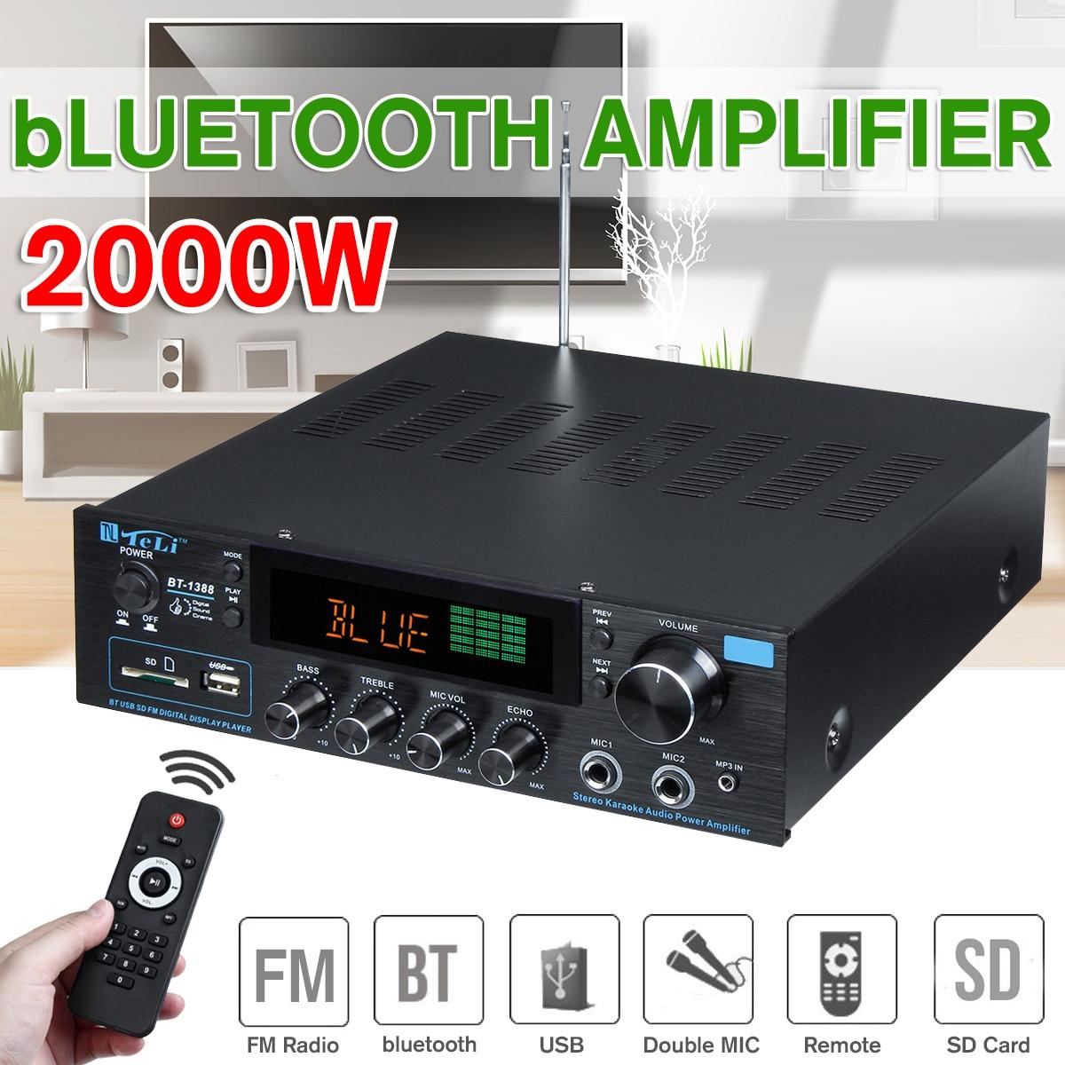 110-240V 2000W Wireless Digital Audio Amplifier 16ohm Bluetooth Stereo Karaoke Amplifier 2MIC Input FM RC Home Theater Amplifier