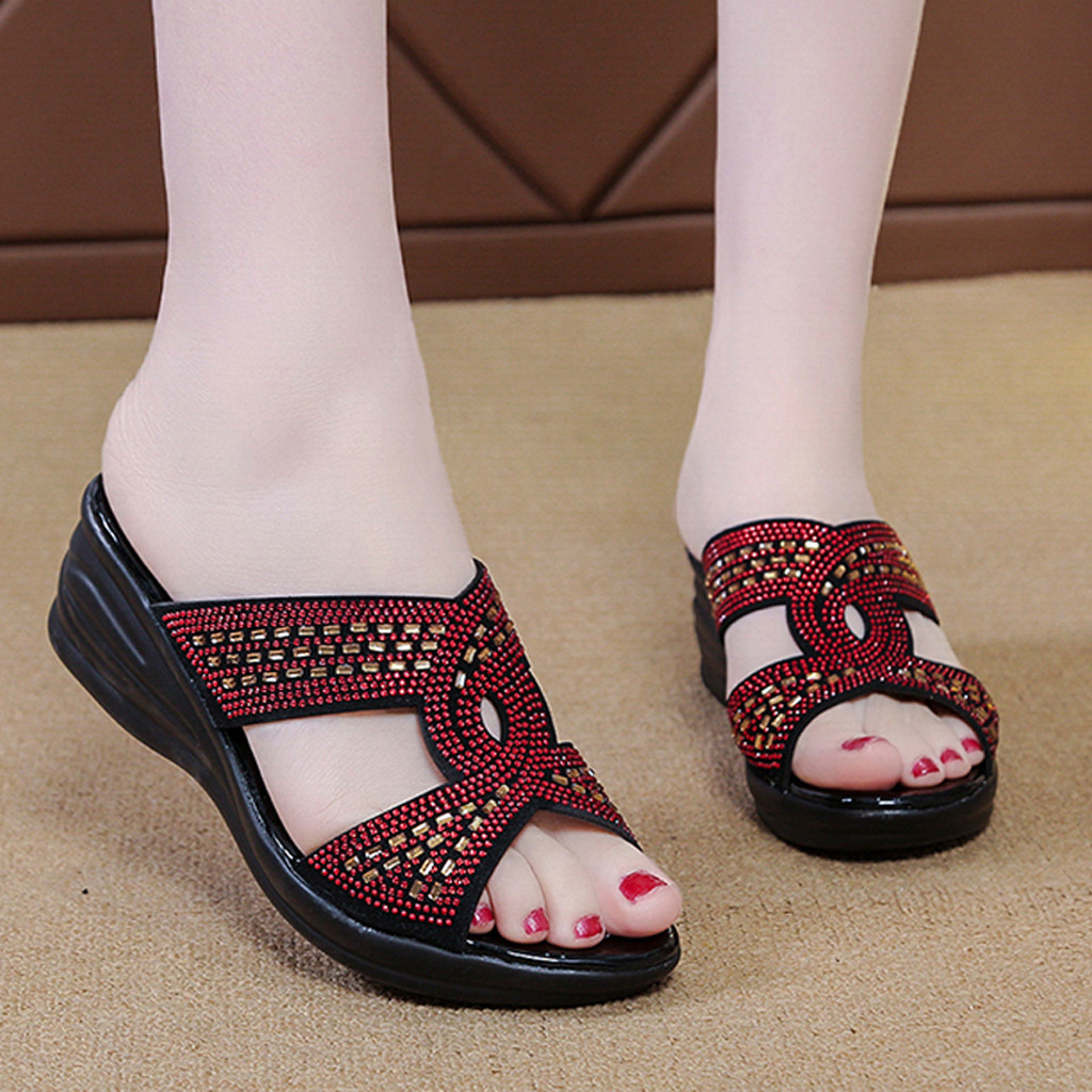 Women Girls Wedges Cork Bottom Roman Sandals Retro Ankle Strap Buckle Open Toe Sandal Comfy High Heel Beach Dress Shoes