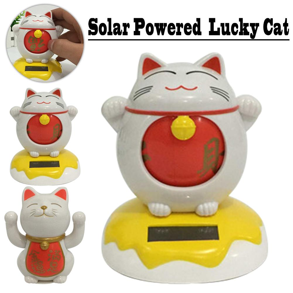 Solar Powered Fortune Cat Welcoming Lucky Cat Waving Cats Figurine Decor Crafts Toys Kids Gifts