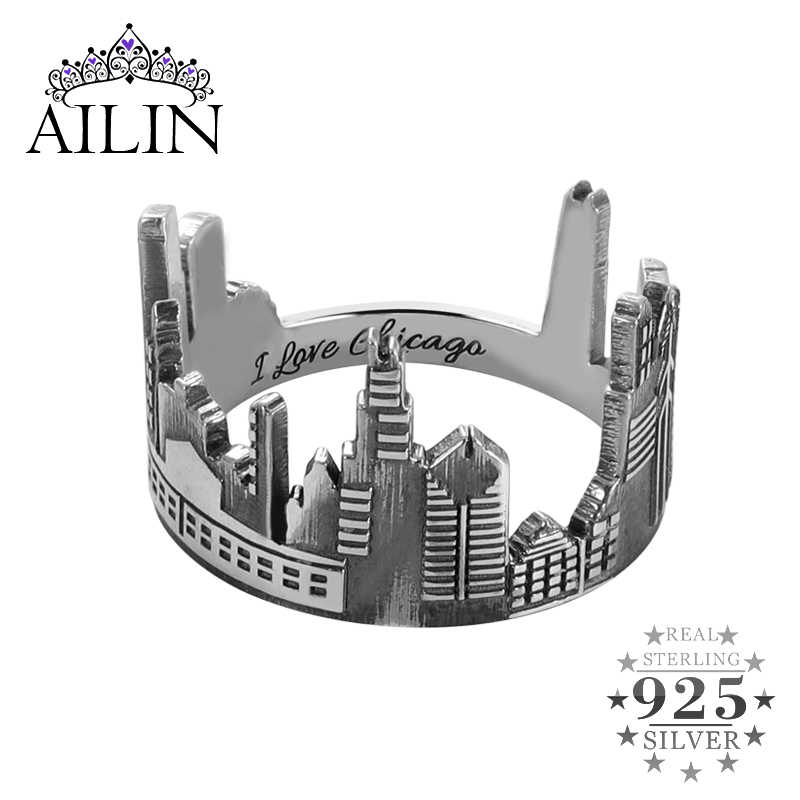 AILIN 2020 New Silver 925 Ring Men Womens Custom City Cityscape Engraving Rings Skyline Customized Fine Jewelry Father Gifts