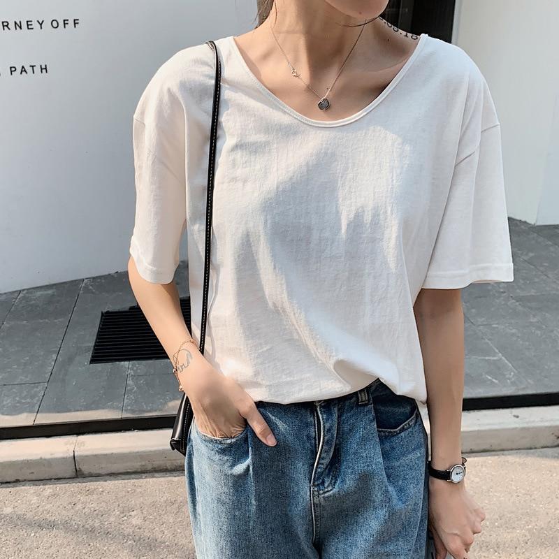 Fashion  Logo  Printing T Shirts Women's Black Short Black Sleeve Fashion 100% Cotton Female  T-Shirts