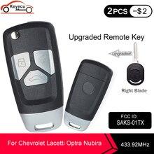 KEYECU 433.92MHz 4D60 Chip FCC ID:SAKS 01TX Aggiornato A Distanza di Vibrazione Auto Chiave Fob 3 Pulsante DW04R Lama per Chevrolet Optra Lacetti