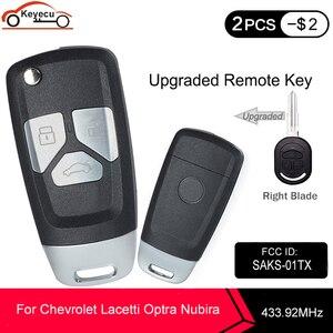 Image 1 - KEYECU 433.92MHz 4D60 שבב FCC ID:SAKS 01TX משודרג Flip מרחוק רכב מפתח Fob 3 לחצן DW04R להב עבור שברולט Optra Lacetti