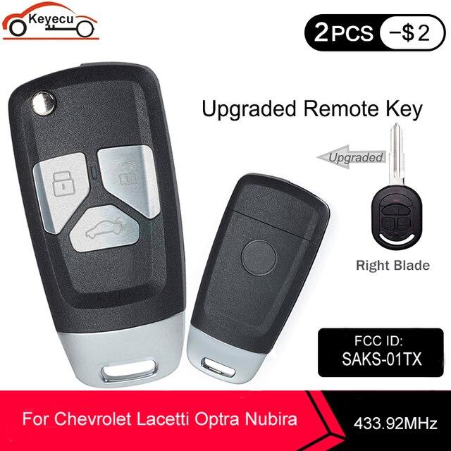 KEYECU 433.92MHz 4D60 שבב FCC ID:SAKS 01TX משודרג Flip מרחוק רכב מפתח Fob 3 לחצן DW04R להב עבור שברולט Optra Lacetti