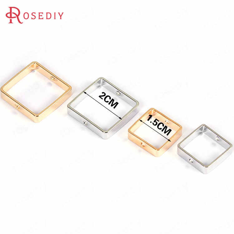 (F571)20 pieces 1.5cm 2cm Gold Color Brass Can Through Beads Square Connect Charms Diy Jewelry Findings Accessories Wholesale