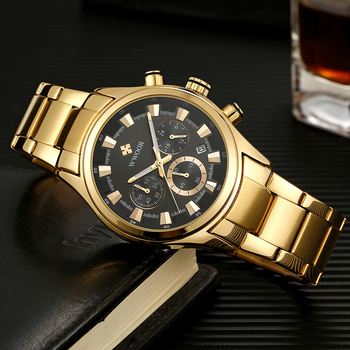 WWOOR Watch For Men Luxury Gold Chronograph Clock Stainless Steel Waterproof Luminous Wrist Watch Male Quartz Gift Watches 2020 chronograph watch mens wallet gift set for male luxury wristwatch for men quartz leather strap wrist clock birthday gift reloj