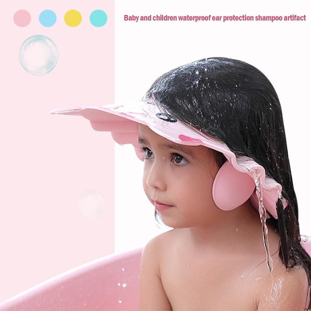 Шапочка для душа регулируемая шляпа для мытья волос для новорожденных защита ушей для детей Защита от шампуня