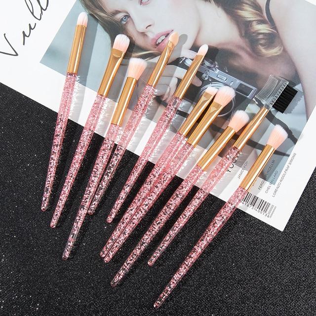 Glitter 10pcs Lovely Pink Unicorn Eye Brushes Set Eyeliner Eyebrow Eyeshadow Makeup Brushes Set Cosmetic Beauty maquiagem Tools 2