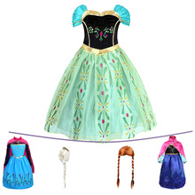Girls Elsa Anna Princess Dress Kids  Flower Costume with Wig Snow Queen Elza Halloween Birthday Party Fancy Cosplay Dress
