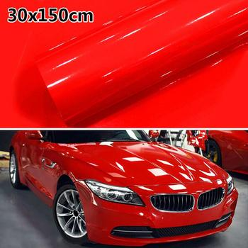 цена на 1Roll Super Gloss Red Vinyl Film Car Wraps Auto Glossy Red Foil Car Wrap Film Vehicle Sticker 30 X 152cm