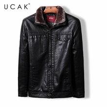 Jackets Clothing Zipper UCAK Winter Casual Brand-New Outcoat Business Men's PU U8004