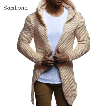 Fashion 2020 Hoodies Autumn Mens Sweater Long Coats Winter Warm Clothes Long sleeve Slim Hooded Tops Knitted Cardigans Sweaters rebicoo sweater men jumper acrylic fashion solid long sleeve hooded pockets tops sweater blouse outwear mens sweaters