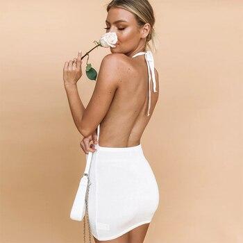 High Quality Sexy Backless Dress Women Summer Fashion Club Beach Mini Dress Casual Halter Sleeveless Soft Smooth Bodycon Dresses 4
