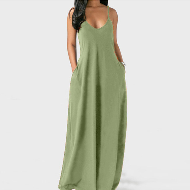 Women's Summer Long Dress Loose Sexy Spaghetti Straps Sleeveless Pockets Solid Color Maxi Dress Casual Plus Size Beach Dresses # 3