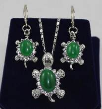 Free Shipping Hot sale new Style Jewelry Green stone Tortoise Earrings Pendant Set(China)