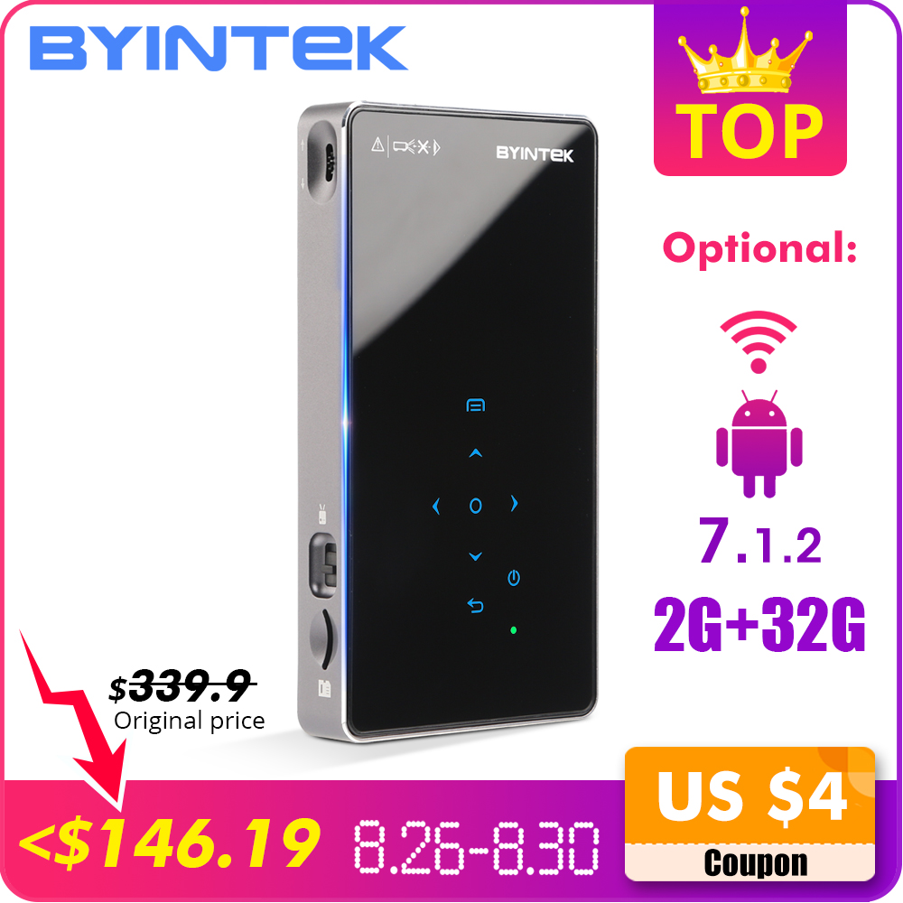 BYINTEK UFO P9 (P8I) android 7.1 os HD Portátil de Bolso Pico Micro Bluetooth WI-FI Mini Projetor DLP LEVOU com Bateria