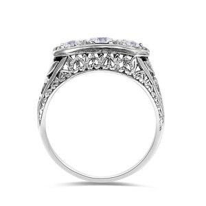 Image 3 - Szjinao Diamond Ringen Voor Vrouwen Zirkoon 3 Precious Stone Massif Edelsteen Ring Voor Vrouwen Carve Wedding Real Zilver 925 Sieraden