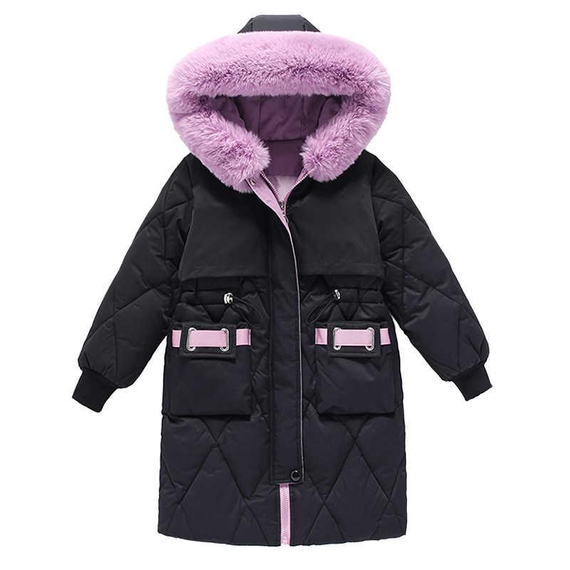 女の子冬ジャケットウォームコート厚手のパーカーのための子供の冬服の子供ビッグ毛皮フード上着 4-14years