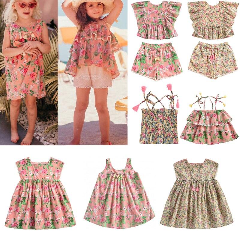 2020 nuevo Primavera Verano L & M marca vestidos infantiles para niñas lindo estampado de flores vestido sin mangas de princesa bebé niño ropa de moda Trajes de primavera para niñas, niñas, raglans florales con cinturón, jeans, ropa de verano para bebés y niños