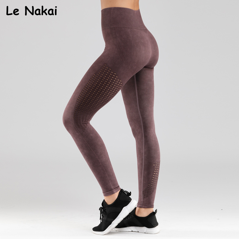 Retro seamless leggings for women fitness yoga pants mid waist workout gym legging sand washing sports leggings