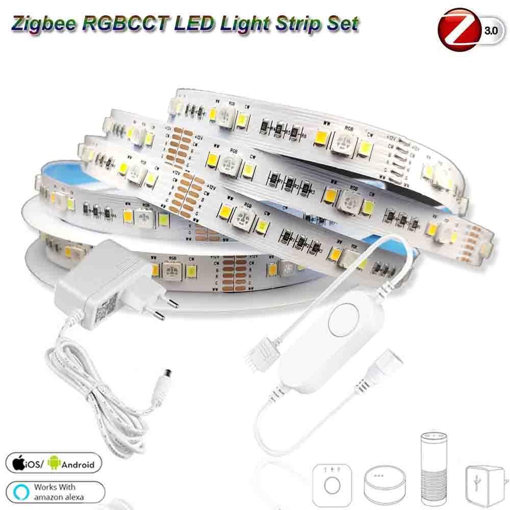 5m dc12v 5050 rgb + cct 90leds/m led luz de tira zigbee rgbcw mini controlador kit de energia para smartthings zigbee 3.0 hue-b eco mais