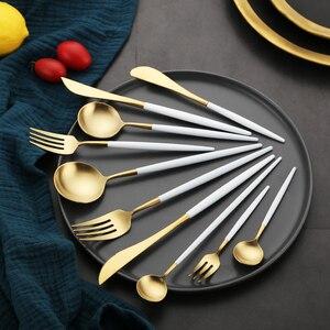 "Image 4 - לבן זהב סט סכו""ם מערבי 18/10 נירוסטה כלי שולחן בית כף מזלג סכין מקלות אכילה ערכת כלי אוכל סטי כלי שולחן"