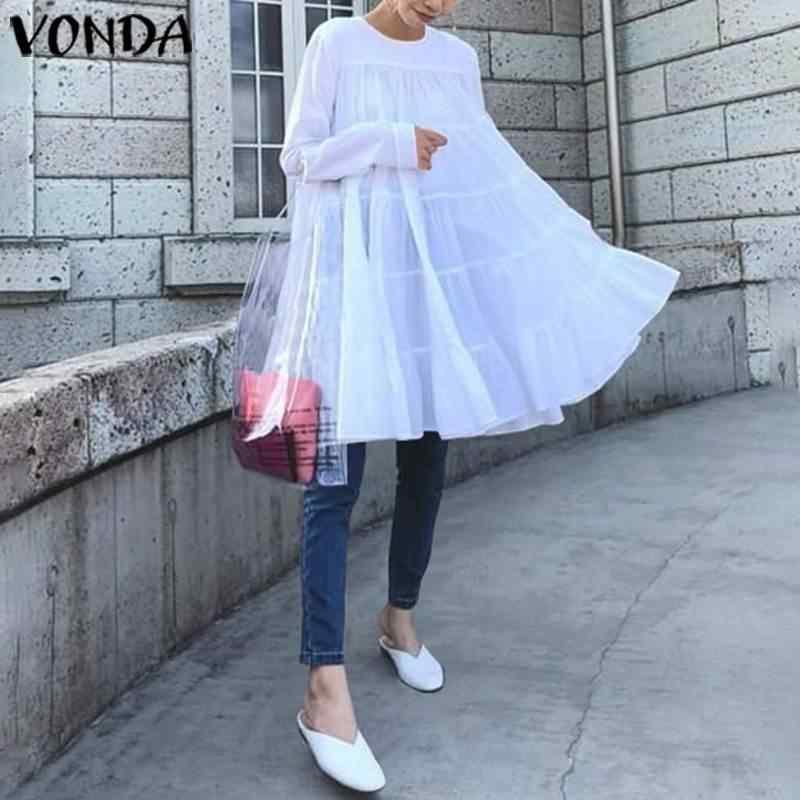 Vestido branco vonda para mulheres, decote redondo manga comprida cor sólida mini vestido de festa verão 2020 vestido de férias casual solto vestidos
