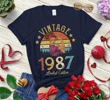 Vintage 1987 Édition limitée Rétro Femmes Chemise Drôle 34th Anniversaire Cadeau Manches Courtes Top T-Shirts Grande Taille O Cou UNISEXE Vêtements