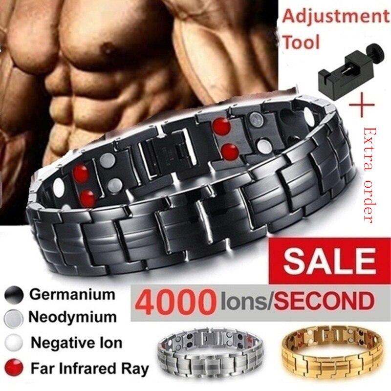 New 2020 Men's Bracelets Magnetic Bracelet with Hook Buckle Clasp Therapy Bangles Man Health Care Jewelry Lady Bracelets(China)