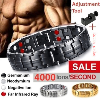 New 2020 Men's Bracelets Magnetic Bracelet with Hook Buckle Clasp Therapy Bangles Man Health Care Jewelry Lady Bracelets hottime 4 in 1 bio elements energy magnetic bracelet red copper arthritis therapy health men s bracelets fashion jewelry 10211
