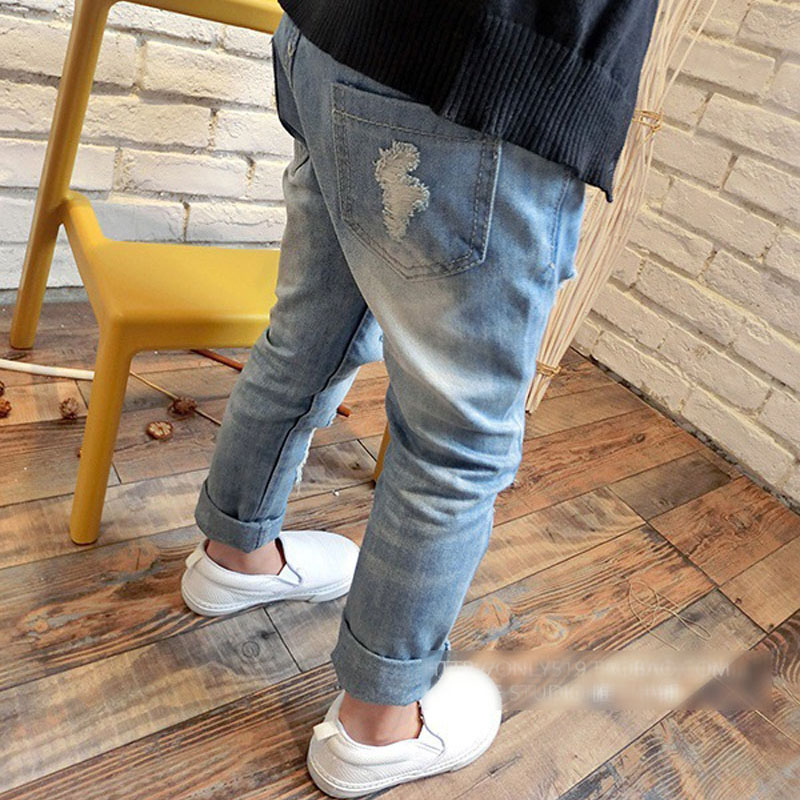 Girls autumn winter cherry printed denim pants kids jeans kids trousers for teenagers ripped jeans 3-12Years 3