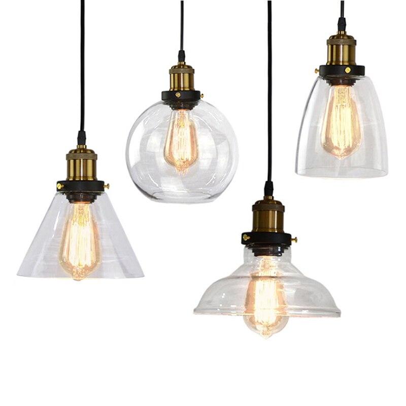 LED Pendant Light Nordic Retro Originality Industrial Wind Glass Hanging Lamp E27 Personality Restaurant Bar Clothing Store Ligh