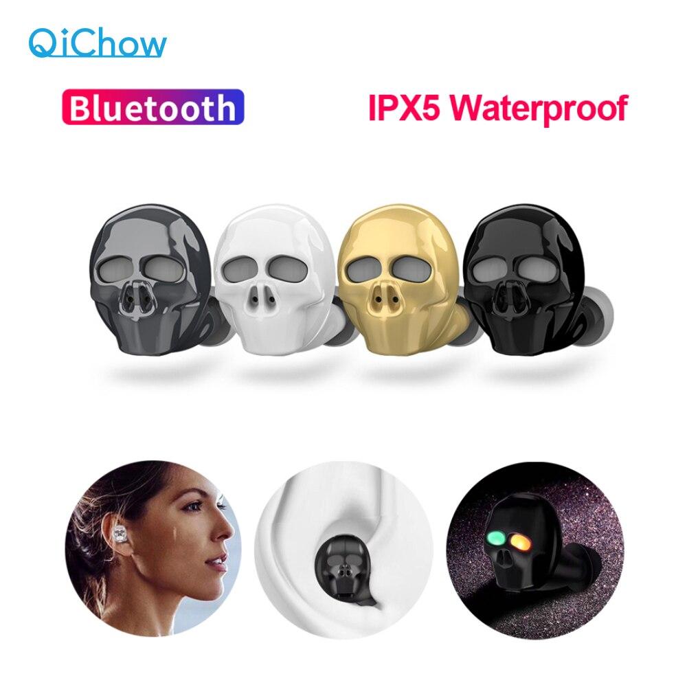 2019 neue Schädel Knochen Bluetooth Kopfhörer mit Mikrofon Noise Cancelling Hallo-fi Freisprecheinrichtung Bass Stereo Mini Micro Ohrhörer Ohrhörer