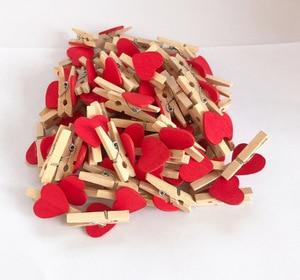 50PCS/Lot Mini Romantic Loving Heart Shape Wood Clips Handicrafts Photos Papers Clothes Pegs Home Bachelorette Party Decorations