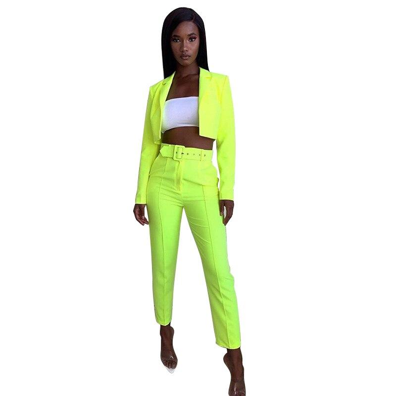 Echoine Women's Suits Long Sleeve Pantsuit Blazers Slim Cropped Pants Casual 2 Piece Sets Autumn Winter Costumes Office Lady