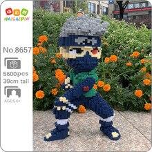 Xizai 8044 Anime Naruto Hatake Kakashi Ninja 3D modeli DIY Mini sihirli blokları tuğla yapı oyuncak çocuklar için 38cm uzun hiçbir kutu